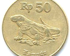 Indonesia Rupiah Coin Depicting Komodo Dragon